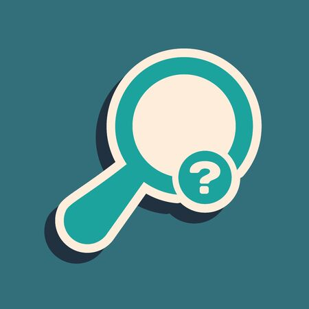 Green Unknown search icon isolated on blue background. Magnifying glass and question mark. Long shadow style. Vector Illustration