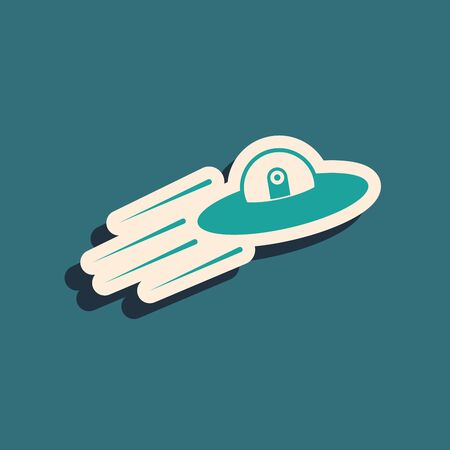 Green UFO flying spaceship and alien icon isolated on blue background. Flying saucer. Alien space ship. Futuristic unknown flying object. Long shadow style. Vector Illustration