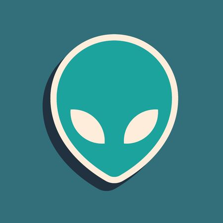 Green Alien icon isolated on blue background. Extraterrestrial alien face or head symbol. Long shadow style. Vector Illustration