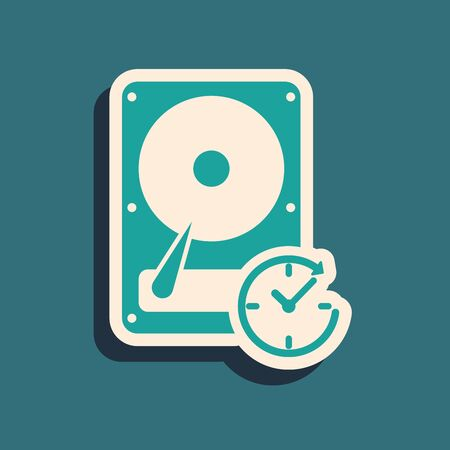 Green Hard disk drive with clockwise sign, data recovery icon isolated on blue background. Long shadow style. Vector Illustration Çizim
