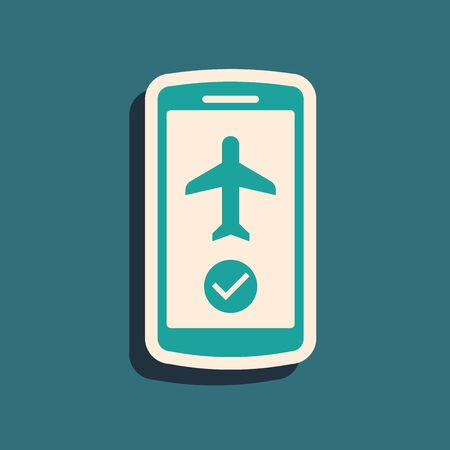 Green Flight mode in the mobile phone icon isolated on blue background. Airplane or aeroplane flight offline mode passenger regulation airline . Long shadow style. Vector Illustration