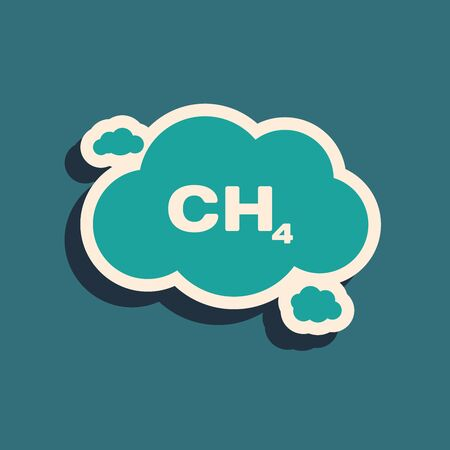 Green Methane emissions reduction icon isolated on blue background. CH4 molecule model and chemical formula. Marsh gas. Natural gas. Long shadow style. Vector Illustration