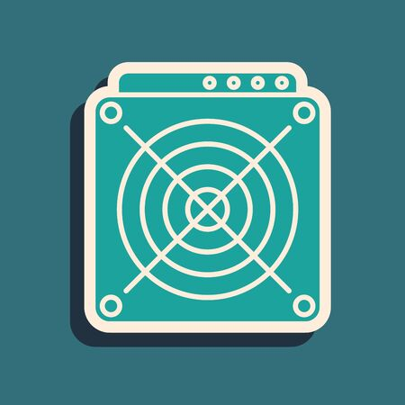 Green ASIC Miner icon isolated on blue background. Cryptocurrency mining equipment and hardware. Application specific integrated circuit. Long shadow style. Vector Illustration