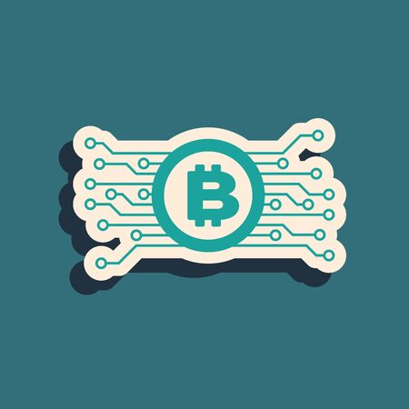 Green Cryptocurrency bitcoin in circle with microchip circuit icon isolated on blue background. Block chain technology, digital money market. Long shadow style. Vector Illustration 일러스트