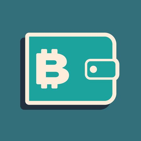Green Cryptocurrency wallet icon isolated on blue background. Wallet and bitcoin sign. Mining concept. Money, payment, cash, pay icon. Long shadow style. Vector Illustration