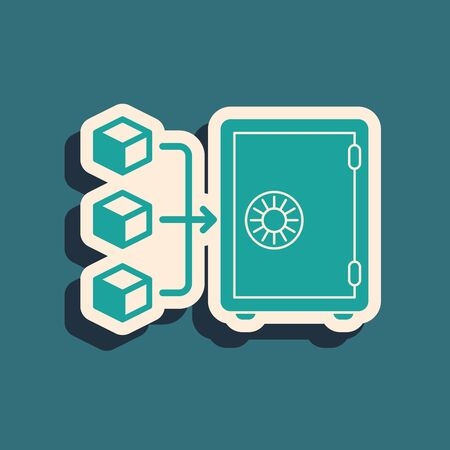Green Proof of stake icon isolated on blue background. Cryptocurrency economy and finance collection. Long shadow style. Vector Illustration