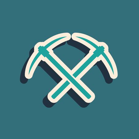 Green Crossed pickaxe icon isolated on blue background. Block chain technology, cryptocurrency mining, bitcoin, altcoins, digital money market. Long shadow style. Vector Illustration Foto de archivo - 129358088
