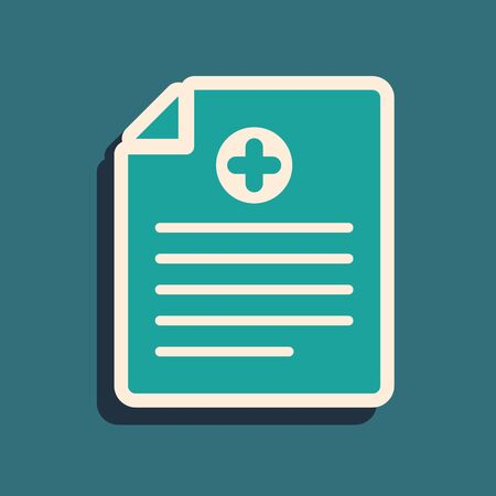 Green Medical clipboard with clinical record icon isolated on blue background. Health insurance form. Prescription, medical check marks report. Long shadow style. Vector Illustration