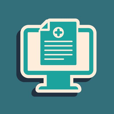 Green Medical clinical record on monitor icon isolated on blue background. Health insurance form. Prescription, medical check marks report. Long shadow style. Vector Illustration