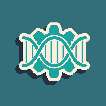 Green Genetic engineering icon isolated on blue background. DNA analysis, genetics testing, cloning, paternity testing. Long shadow style. Vector Illustration