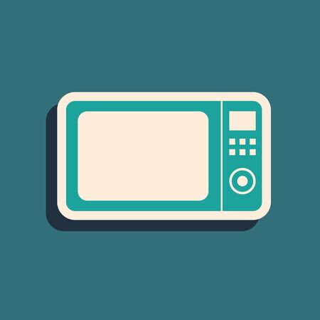 Green Microwave oven icon isolated on blue background. Home appliances icon.Long shadow style. Vector Illustration