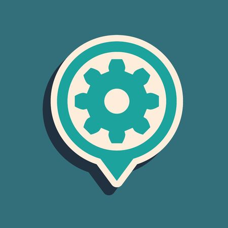 Green Setting icon isolated on blue background. Tools, service, cog, gear, cogwheel sign. Long shadow style. Vector Illustration