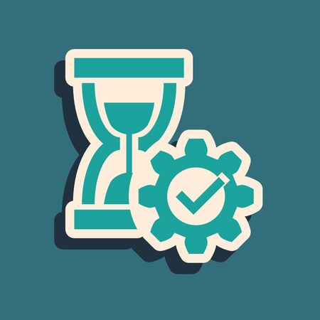 Green Hourglass and gear icon isolated on blue background. Time Management symbol. Clock and gear icon. Productivity symbol. Long shadow style. Vector Illustration