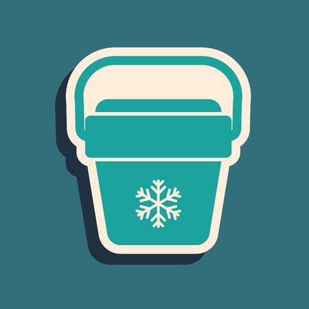 Green Cooler bag icon isolated on blue background. Portable freezer bag. Handheld refrigerator. Long shadow style. Vector Illustration Ilustrace