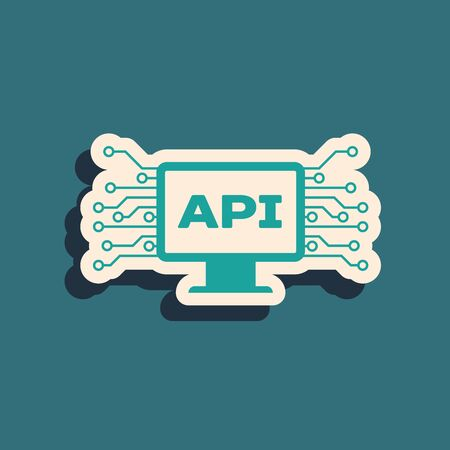 Green Computer api interface icon isolated on blue background. Application programming interface API technology. Software integration. Long shadow style. Vector Illustration