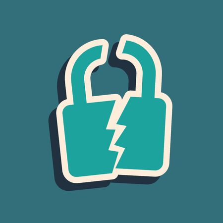 Green Broken or cracked lock icon isolated on blue background. Unlock sign. Long shadow style. Vector Illustration