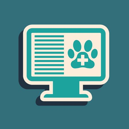 Green Medical clinical record pet on monitor icon isolated on blue background. Health insurance form. Prescription, medical check marks report. Long shadow style. Vector Illustration Illusztráció