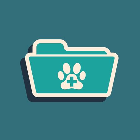 Green Medical veterinary record folder icon isolated on blue background. Dog or cat paw print. Document for pet. Patient file icon. Long shadow style. Vector Illustration