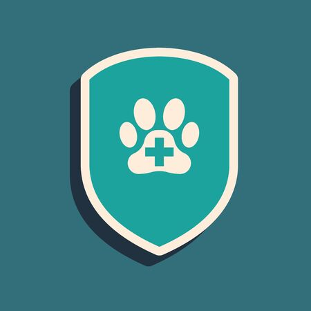 Green Animal health insurance icon isolated on blue background. Pet protection icon. Dog or cat paw print. Long shadow style. Vector Illustration
