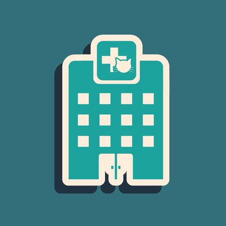 Green Veterinary medicine hospital, clinic or pet shop for animals icon isolated on blue background. Vet or veterinarian clinic. Long shadow style. Vector Illustration Stock Illustratie