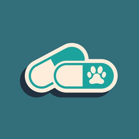 Green Dog and pills icon isolated on blue background. Prescription medicine for animal. Long shadow style. Vector Illustration Иллюстрация