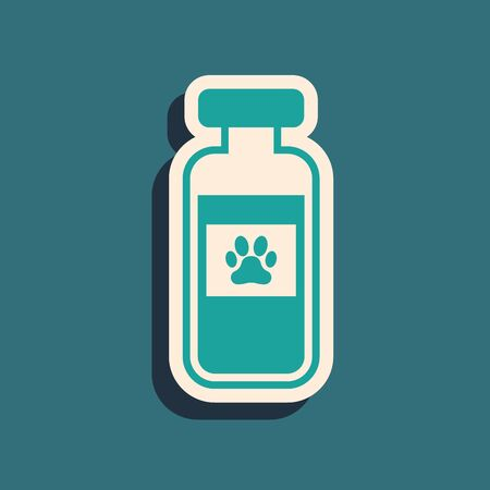 Green Pets vial medical icon isolated on blue background. Prescription medicine for animal. Long shadow style. Vector Illustration