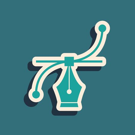 Green Bezier curve icon isolated on blue background. Pen tool icon. Long shadow style. Vector Illustration