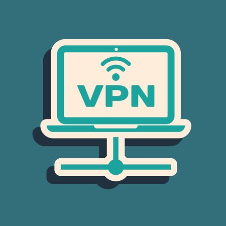 Green VPN Computer network icon isolated on blue background. Laptop network. Internet connection. Long shadow style. Vector Illustration