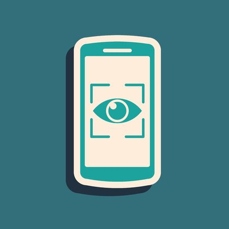 Green Mobile phone and eye scan icon isolated on blue background. Scanning eye. Security check symbol. Cyber eye sign. Long shadow style. Vector Illustration Иллюстрация