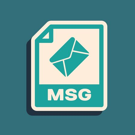 Green MSG file document. Download msg button icon isolated on blue background. MSG file symbol. Long shadow style. Vector Illustration