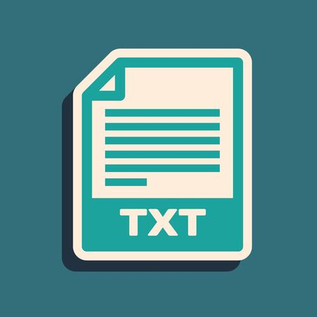 Green TXT file document. Download txt button icon isolated on blue background. Text file extension symbol. Long shadow style. Vector Illustration