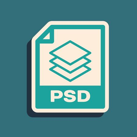 Green PSD file document. Download psd button icon isolated on blue background. PSD file symbol. Long shadow style. Vector Illustration