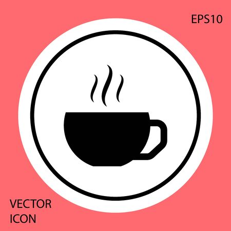 Black Coffee cup flat icon isolated on red background. Tea cup. Hot drink coffee. White circle button. Vector Illustration