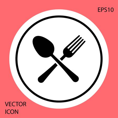 Black Crossed fork and spoon icon isolated on red background. Cooking utensil. Cutlery sign. White circle button. Vector Illustration Çizim