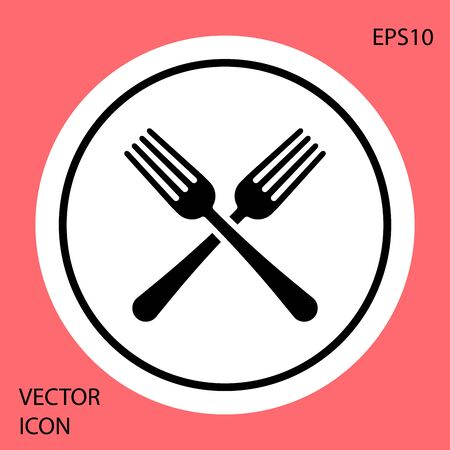 Black Crossed fork icon isolated on red background. Cutlery symbol. White circle button. Vector Illustration