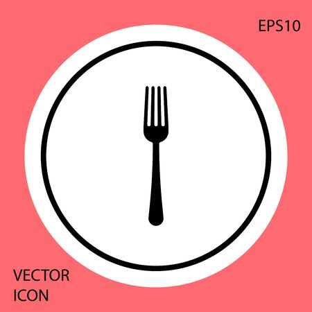 Black Fork icon isolated on red background. Cutlery symbol. White circle button. Vector Illustration