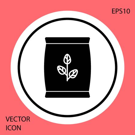 Black Fertilizer bag icon isolated on red background. White circle button. Vector Illustration
