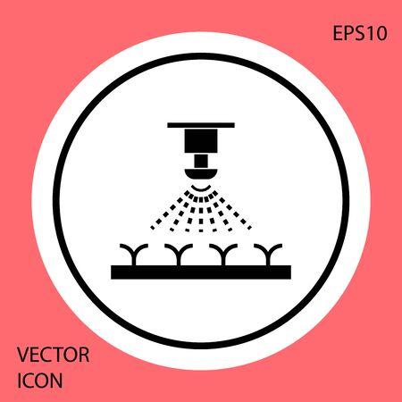 Black Automatic irrigation sprinklers icon isolated on red background. Watering equipment. Garden element. Spray gun icon. White circle button. Vector Illustration Illusztráció