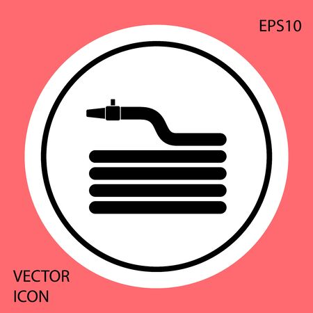 Black Garden hose or fire hose icon isolated on red background. Spray gun icon. Watering equipment. White circle button. Vector Illustration