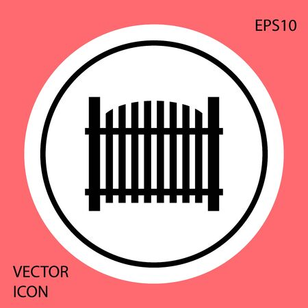 Black Garden fence wooden icon isolated on red background. White circle button. Vector Illustration