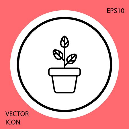 Black Flowers in pot icon isolated on red background. Plant growing in a pot. Potted plant sign. White circle button. Vector Illustration Ilustracja