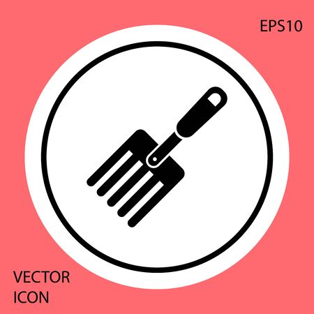 Black Garden fork icon isolated on red background. Pitchfork icon. Tool for horticulture, agriculture, farming. White circle button. Vector Illustration Иллюстрация