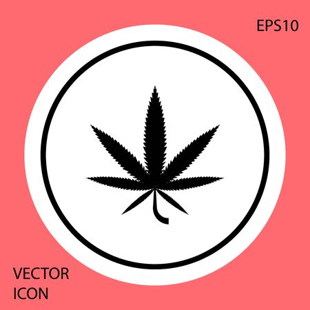 Black Medical marijuana or cannabis leaf icon isolated on red background. Hemp symbol. White circle button. Vector Illustration Vectores
