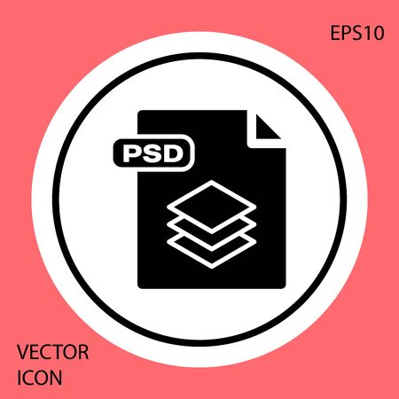 Black PSD file document. Download psd button icon isolated on red background. PSD file symbol. White circle button. Vector Illustration