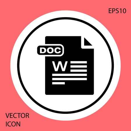Black DOC file document. Download doc button icon isolated on red background. DOC file extension symbol. White circle button. Vector Illustration