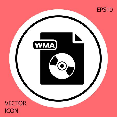 Black WMA file document. Download wma button icon isolated on red background. WMA file symbol. Wma music format sign. White circle button. Vector Illustration Illusztráció