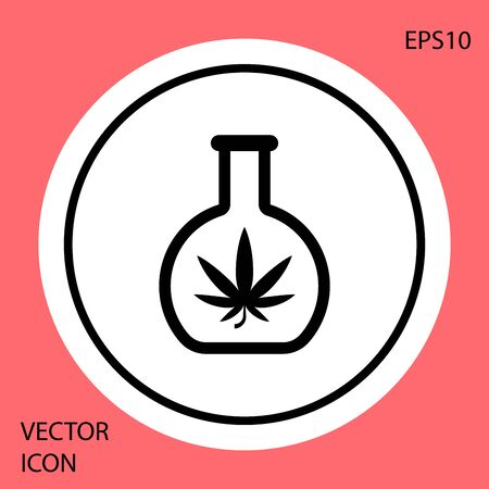 Black Chemical test tube with marijuana or cannabis leaf icon isolated on red background. Research concept. Laboratory CBD oil concept. White circle button. Vector Illustration