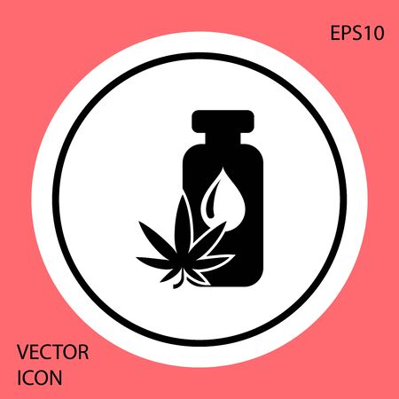 Black Medical marijuana or cannabis leaf olive oil drop icon isolated on red background. Cannabis extract. Hemp symbol. White circle button. Vector Illustration
