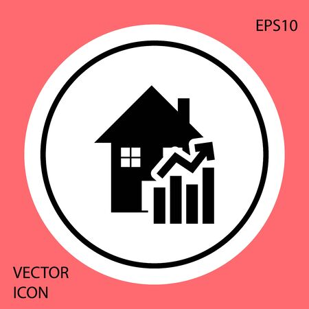 Black Rising cost of housing icon isolated on red background. Rising price of real estate. Residential graph increases. White circle button. Vector Illustration Stock Illustratie