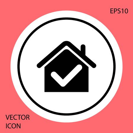 Black House with check mark icon isolated on red background. Real estate agency or cottage town elite class. White circle button. Vector Illustration Illusztráció